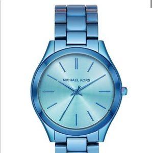 Michael Kors Blue Slim Runway Iridescent Watch NWT
